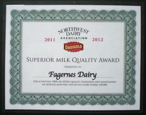 Superiou Quality Milk award